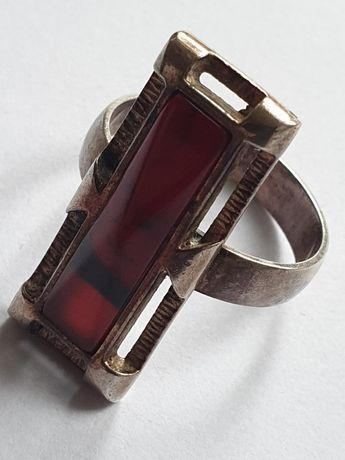 Stary srebrny pierścionek lata PRL.naturalny agat.srebro 925