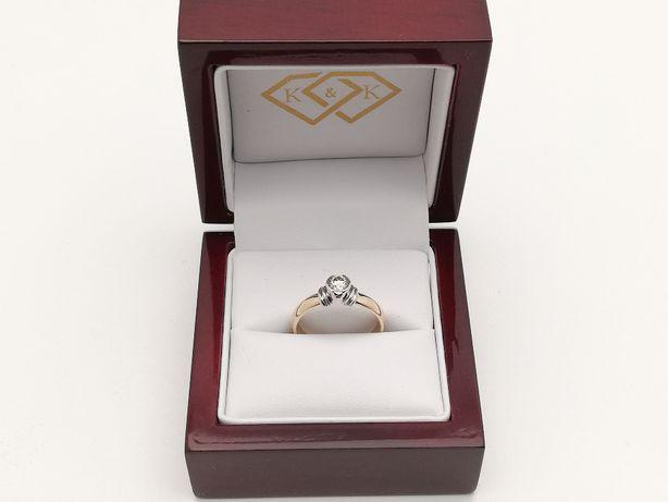 Nowy złoty pierścionek z brylantem brylant 0,3ct Zaręczyny/ Sklep K&K