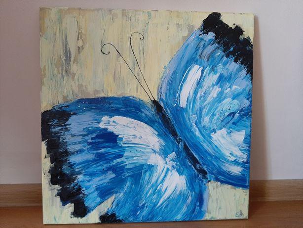 """50x50 Obraz ręcznie malowany """"motyl ze snów"""""""