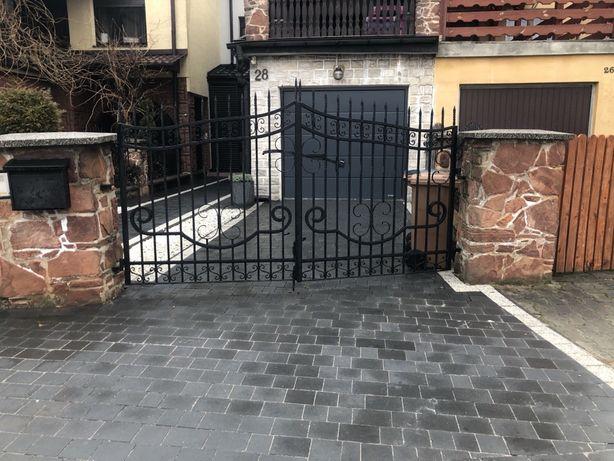 Brama  i furtka kuta czarne metalowe
