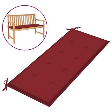 vidaXL Almofadão p/ banco de jardim 120x50x4 cm tecido vermelho tinto 314080