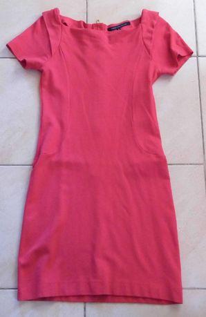 Malinowa, bawełniana sukienka, rozm M