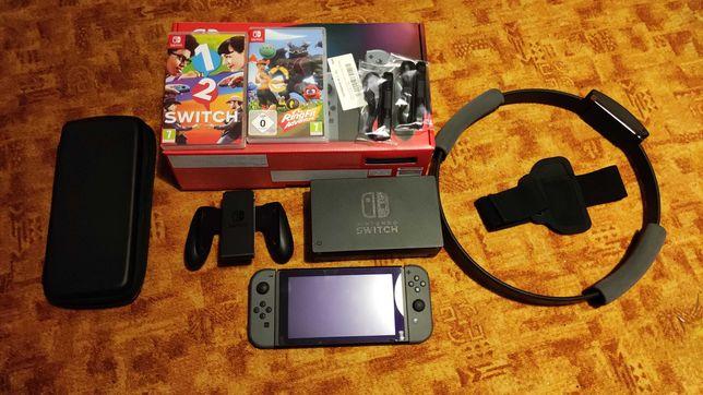 Nintendo Switch v2 (stan idealny) + karta 64 GB + 2 gry + akcesoria