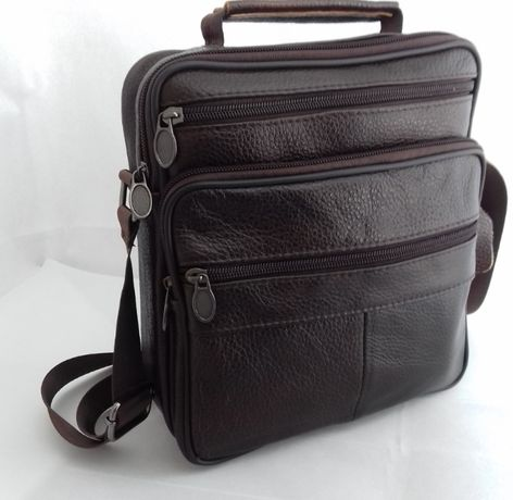 Кожаная мужская сумка с ручкой и наплечным ремнем. Сумка-барсетка