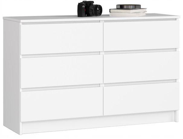 KOMODA KOMODY SZAFKA 120cm 6 szuflad biała duża alaska polarny bialy