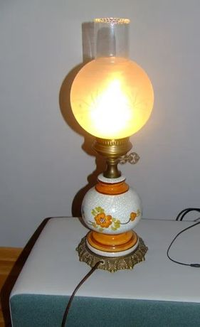 Lampa porcelanowa vintage klosz abażur