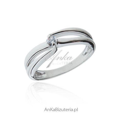 ankabizuteria.pl Pierścionek zaręczynowy - Pierścionek srebrny z białą