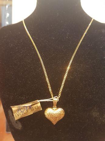 Złoty damski łańcuszek splot pancerka+ zawieszka serce pr.585.
