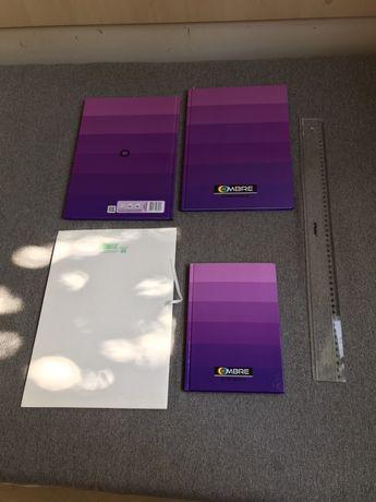 Zeszyt w kratkę A4 96 kartek linijka plastikowa 50 cm