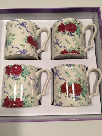 Oryginalne kubki Shannonbridge porcelana Irlandzka 4 szt hand made