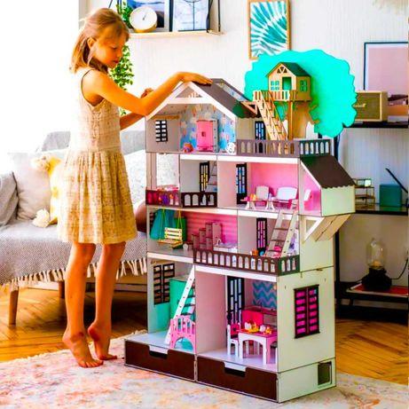 Огромный красочный кукольный детский игровой домик из дерева