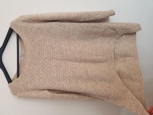 Sweter moher welna unisono nude bezowy dłuższy tyl oversize azurowy
