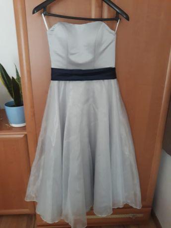 Sukienka ślub poprawiny 36 jasny popiel
