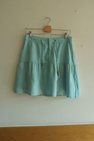 jasnoniebieska lniana spódnica Only 38 na lato turkus len boho hippie