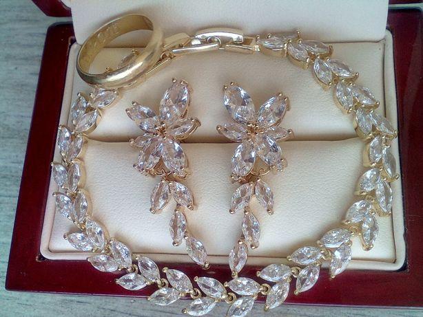 Złoty komplet ślubny kolczyki bransoletka z kryształkami