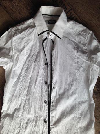 Koszula biało czarna S