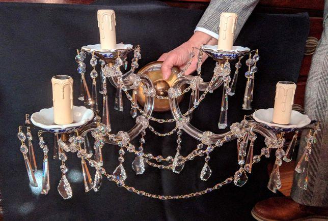 Aplique 4 Lâmpadas Cristal Porcelana Metal
