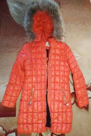 Зимнее пальто куртка пуховик с натуральным мехом