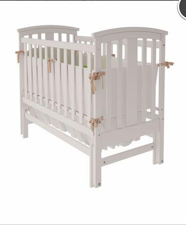 Ліжечко кроватка детская белая массив бука универсальный механизм кач