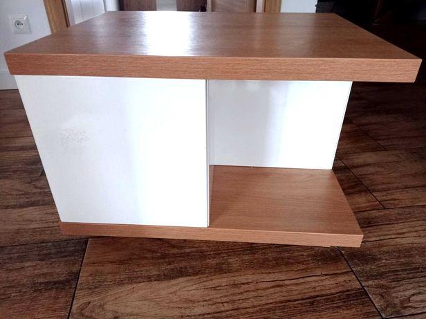 Ława do salonu 51x66 wysoka 46,5 biały połysk z odcieniem drewna,