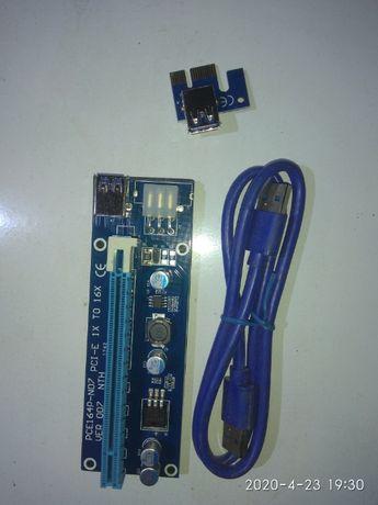 Райзер pci-e 1x to 16x - 6 pin 12V