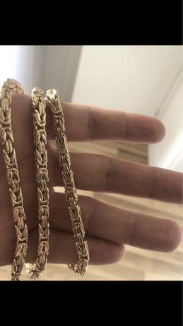 Nowy Złoty Łańcuch Splot Królewski Łańcuszek 585 14k italy żółte złoto