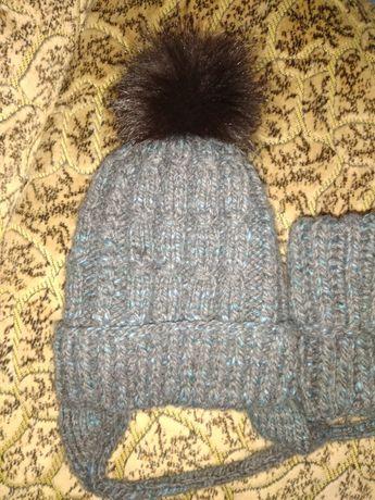 шапка с хомут вязаная