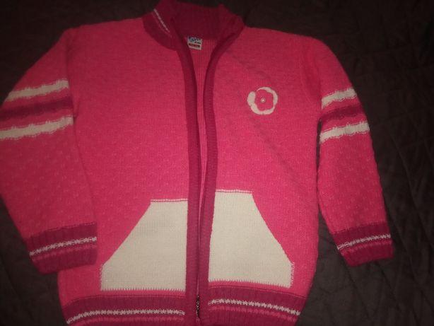 Sweter dla dziewczynki, różowy, ciepły, rozpinany