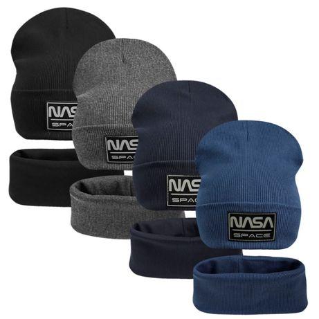 Двойной хлопковый комплект шапка с хомутом Наса ог. 50-60см