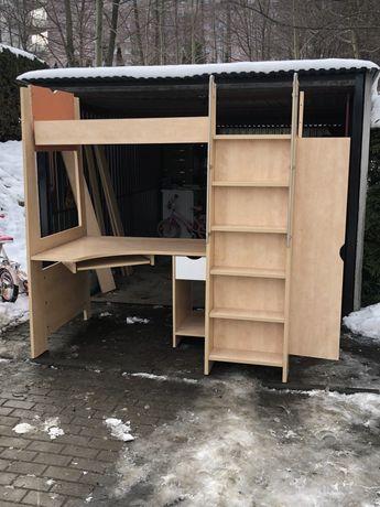 Łóżko piętrowe  z szafą oraz biurkiem w jednym