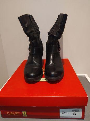 Botki buty skórzane czarne jesień/zima. Rozm.39. Dave Mayer shoes