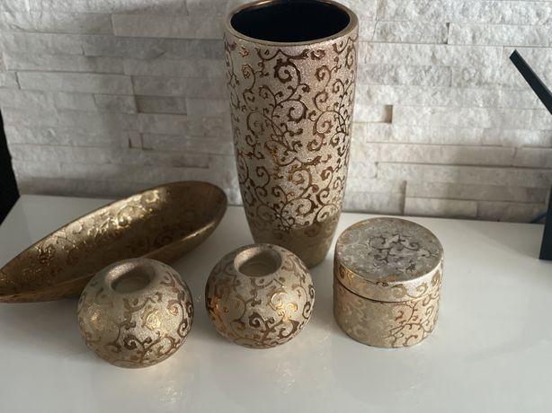 Zestaw wazon swieczniki patera złoto