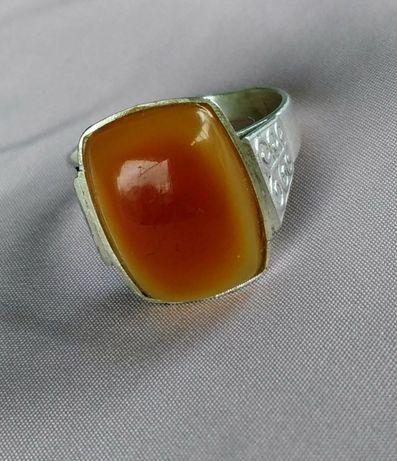 Кольцо советское янтарь серебро 875