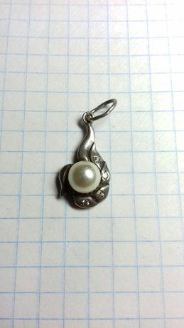 Кулон срібло, перлина,цирконій