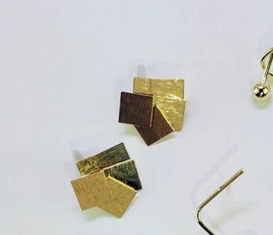 Kolczyki złote płytki srebro 925