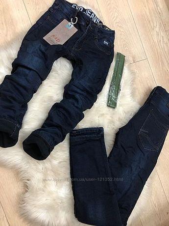джинсы зауженные на флисе 128-134-140-146-152-158-164см