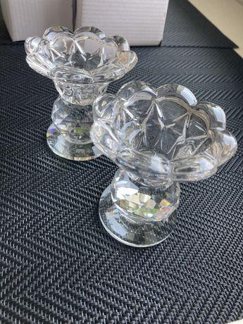 Szklany świecznik pojedynczy nowy 2szt.