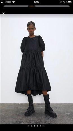 Шикарное платье сарафан миди Zara 2019 из поплина хлопок