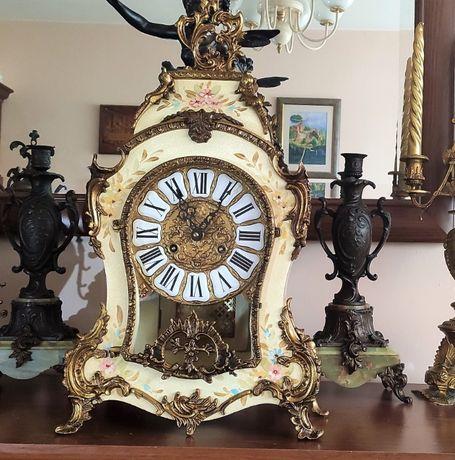 Wielki zegar z intarsją w sylu Boulle 60 cm CUDO