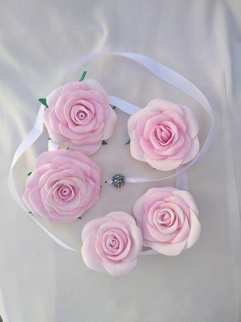 Лента в косу. Розы