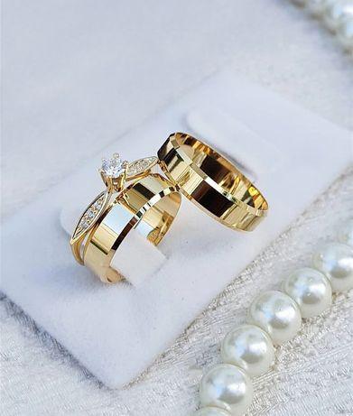 Wyjątkowo Piękna Para Złotych Obrączek Ślubnych