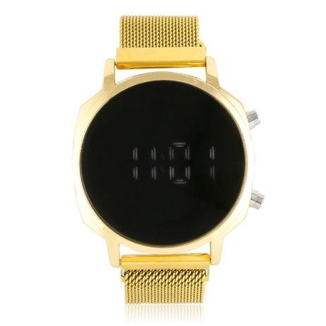 Zegarek LED magnetyczny pasek złoty stal szlachetna białe cyfry Z12