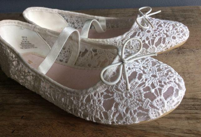 H&M balerinki białe z koronki. r.33