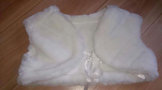 Kamizelka biała futrzana