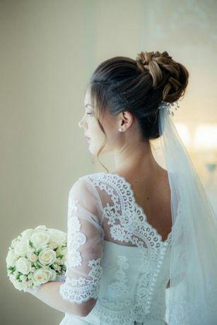 Свадебное платье (топ кроп/шелк)