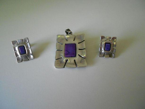 Komplet srebrny: zawieszka/wisiorek + kolczyki