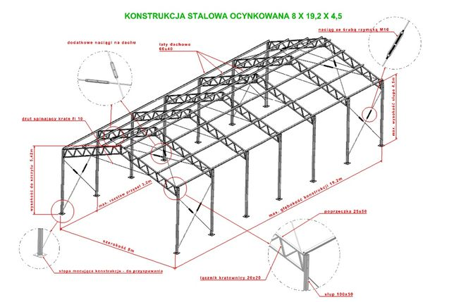 Konstrukcja 8x19 stalowa ocynkowana magazyn hala wiata garaż warszta