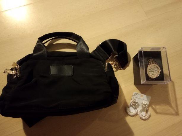 Conjunto de mala, relógio e brincos
