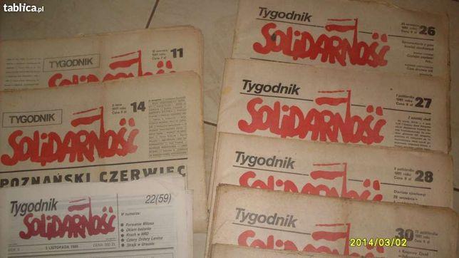 Stare gazety tygodnik Solidarność od1981r do 1990r posiadam 25 numerów