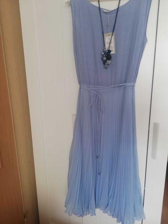 Komplet -Sukienka błękitna plisowana plus sweterek r. 44 Tatuum